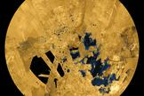 Cassini's view of lakes on the surface of Titan.